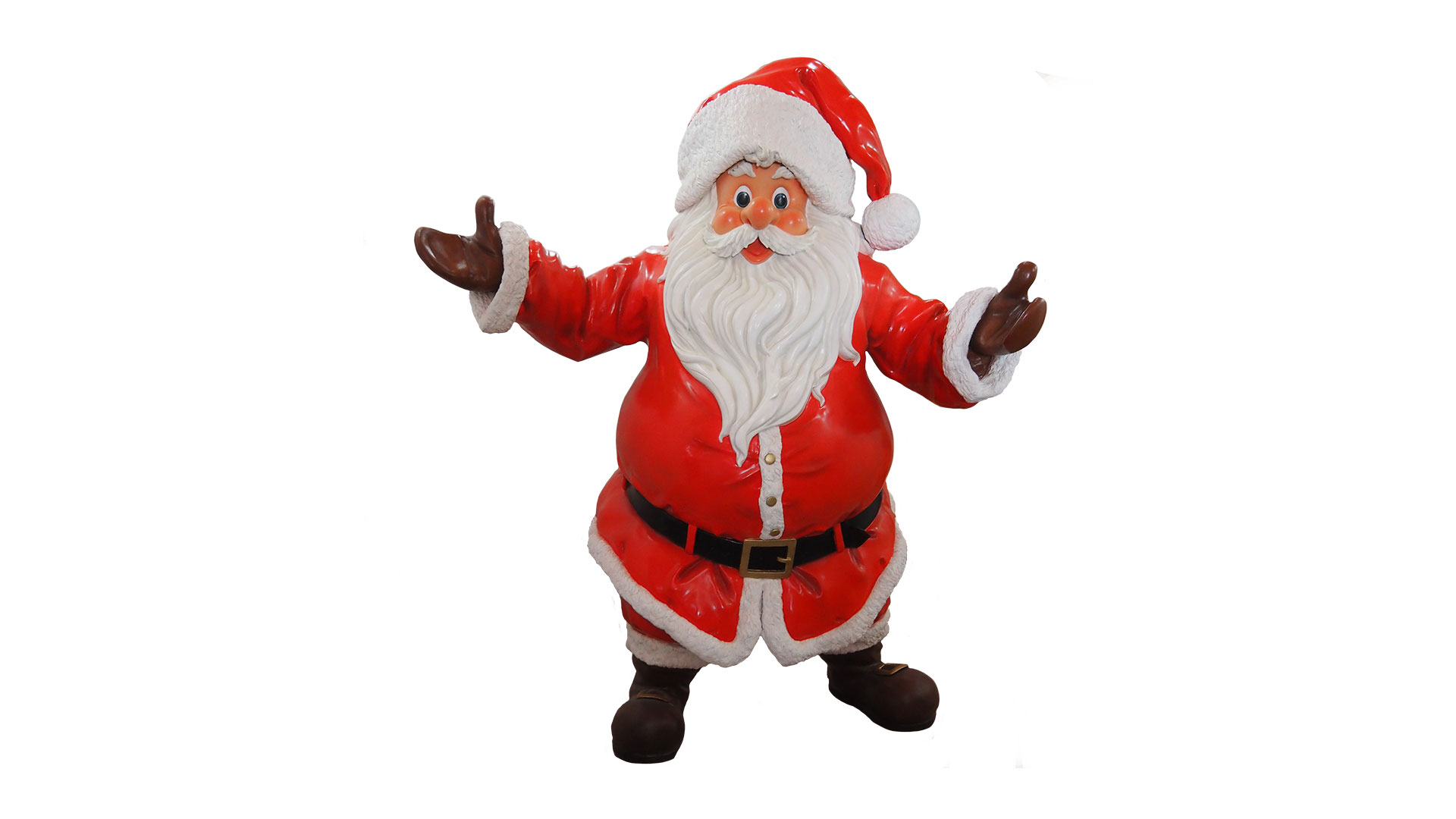 Allestimento natalizio per negozi Babbo Natale ad altezza reale 170 cm in vetro resina