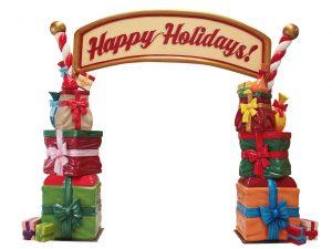Fantastico arco di entrata per villaggio di Babbo Natale, perfetto allestimento natalizio per la tua attività commerciale