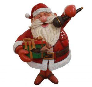 Babbo Natale in vetroresina per allestimenti natalizi in attività commerciali